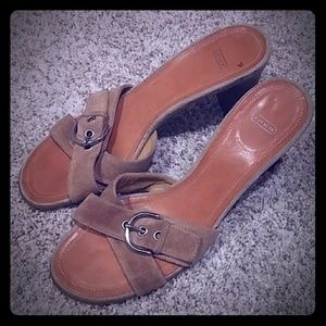Coach Beige Suede Sandals